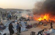 إدلب.. اندلاع حريق في مخيم السلامة يودي بحياة 3 أطفال.. واستغلال الأجواء الحارة وبيع ألواح الثلج بـ 3500 للنازحين