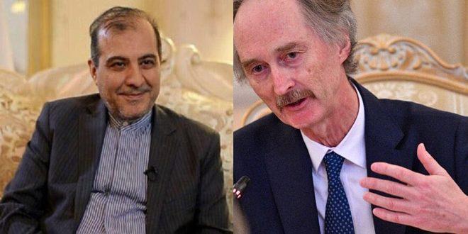 مسؤول إيراني يبحث مع بيدرسون العملية السياسية في سوريا