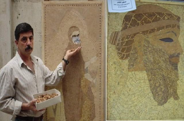 مستوحياً أعماله من التاريخ.. فنان سوري يرصد أبطال الملاحم بفسيفساء الخشب