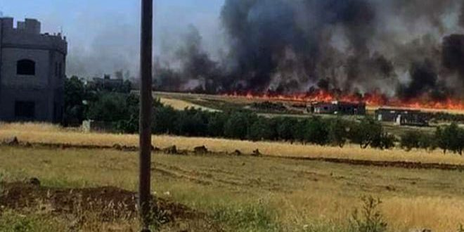 فوج إطفاء درعا ومديرية الدفاع المدني يخمدان 11 حريقاً نشب في بقايا الحصاد والأعشاب اليابسة